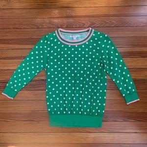 JCrew Womens S Green Polka Dot Sweater w/Pink Trim